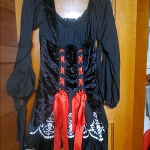 Witch costume black dress with red ties